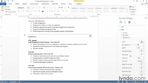 Making a traditional resume in Word
