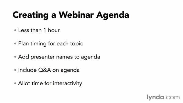 Creating a webinar agenda