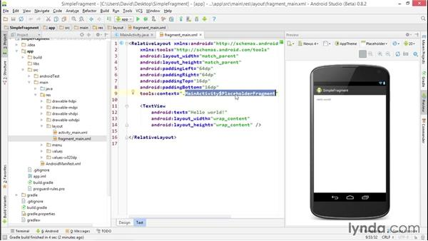 Exploring an app template with a fragment - android template