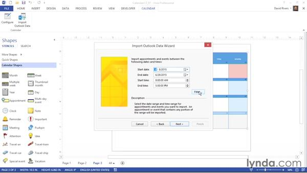 Importing calendar data from Microsoft Outlook