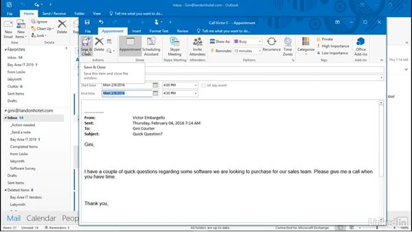 Create an appointment from an email message or contact