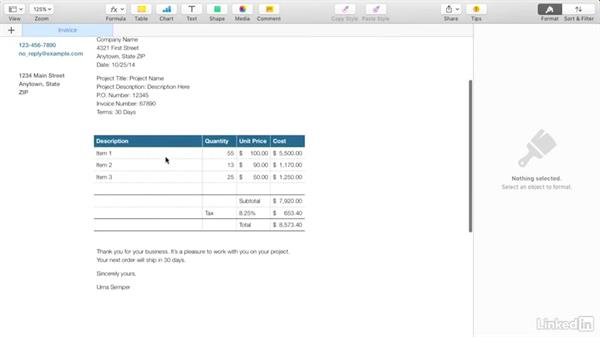 Creating an invoice with Apple\u0027s Pages