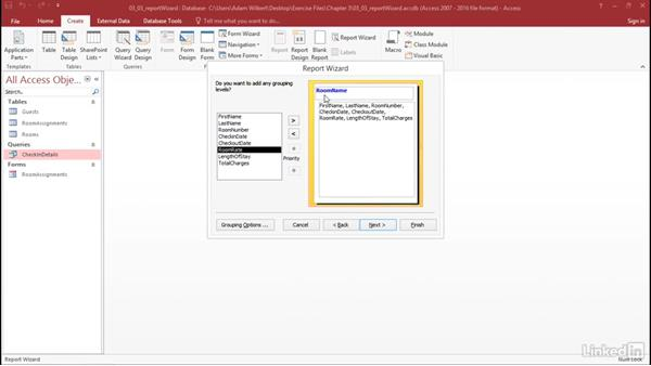 Create a report using the Report Wizard