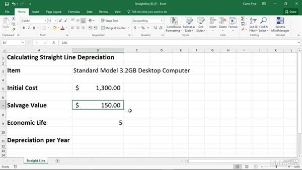SLN Calculating depreciation using the straight-line method