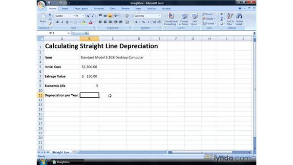 Calculating straight line depreciation