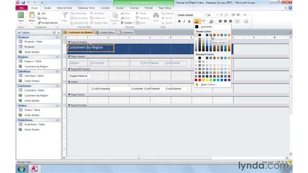 Formatting forms and reports with Office themes