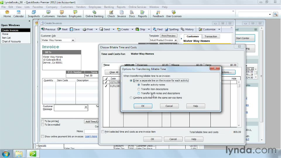 Adding billable time and cost to an invoice QuickBooks Pro 2012 - essential invoice elements
