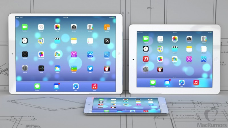 Size Comparison of a 129-Inch iPad with Smaller iPad Models and 13