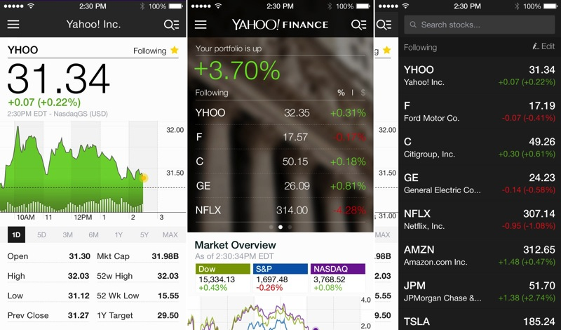 Yahoo Finance App for iPhone and iPad Updated With New Design