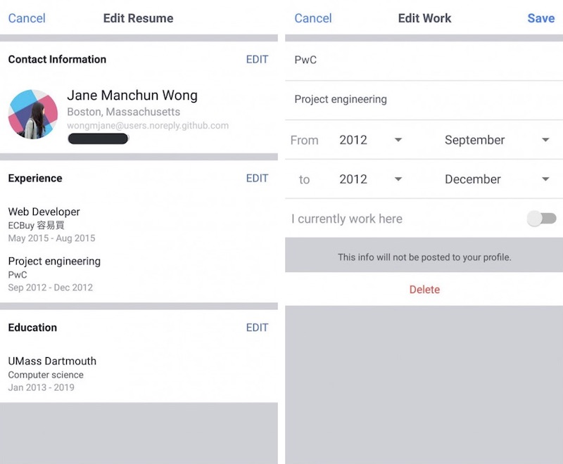 Facebook Begins Testing Résumé \u0027Work Histories\u0027 Feature on Mobile