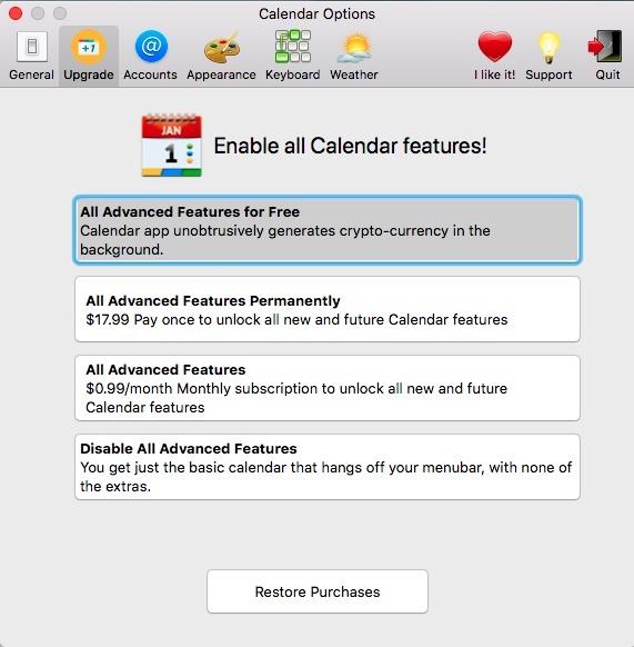 Mac App Store App \u0027Calendar 2\u0027 Mines Cryptocurrency by Default, but