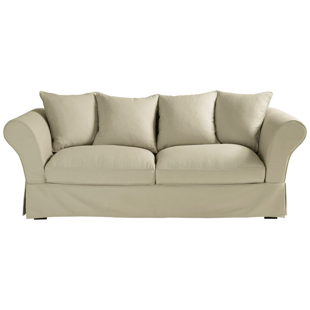 Maison Du Monde Convertible 3 4 Seater Cotton Sofa Bed In Putty Roma 839 00 Port