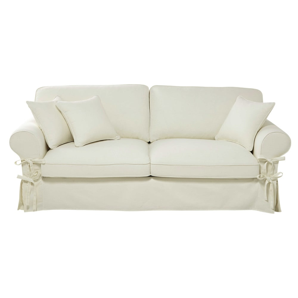 Maison Du Monde Schlafsofa 3 4 Seater Cotton Sofa In Ivory Butterfly 598 50 Port
