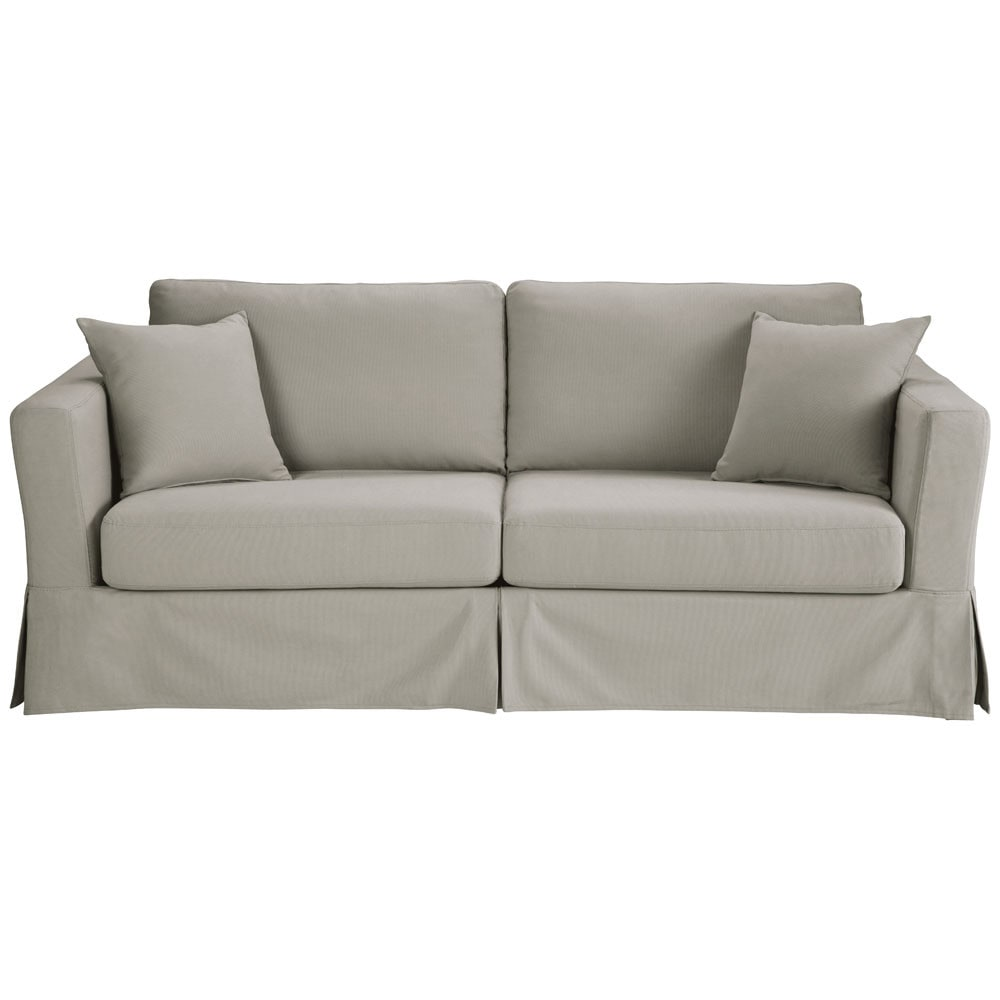 Maison Du Monde Convertible 3 Seater Cotton Sofa Bed In Light Grey Royan 1 049 00 Port