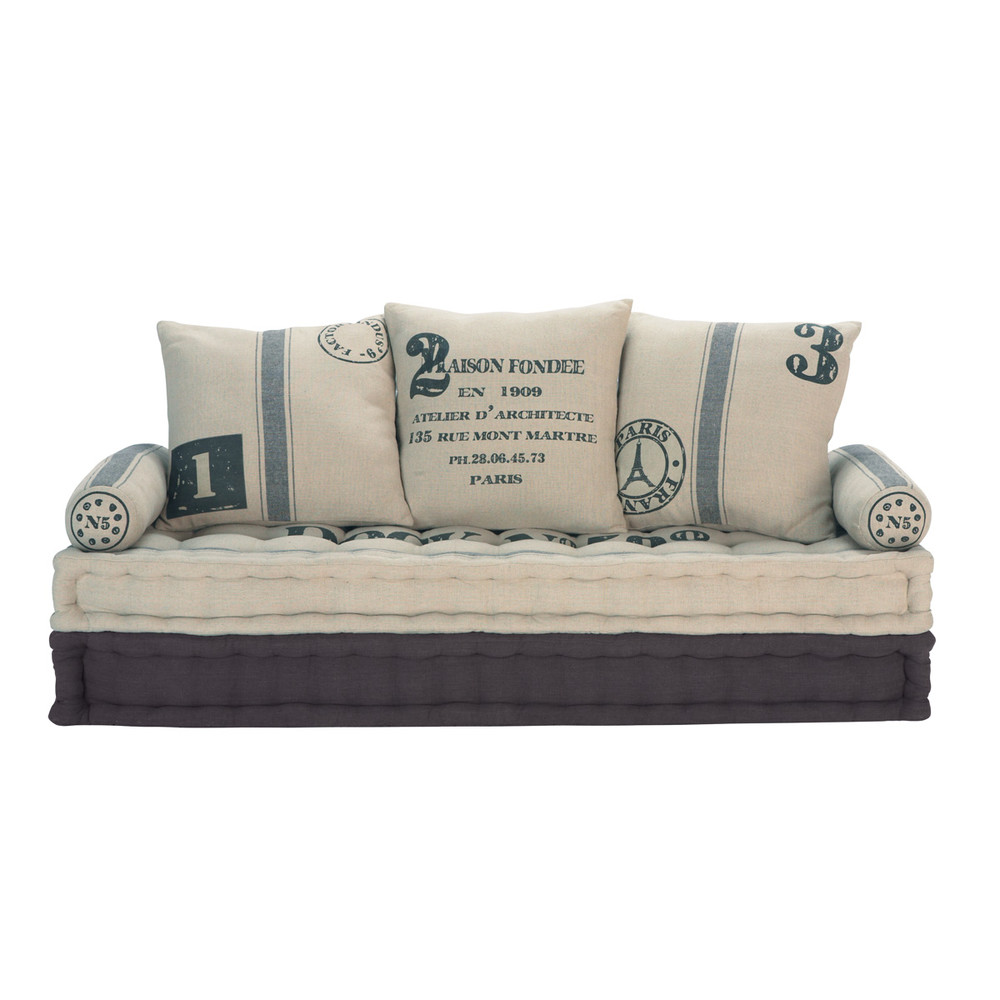 Maison Du Monde Schlafsofa 3 Seater Cotton Sofa Bench In Beige And Grey Factory 459 00 Port