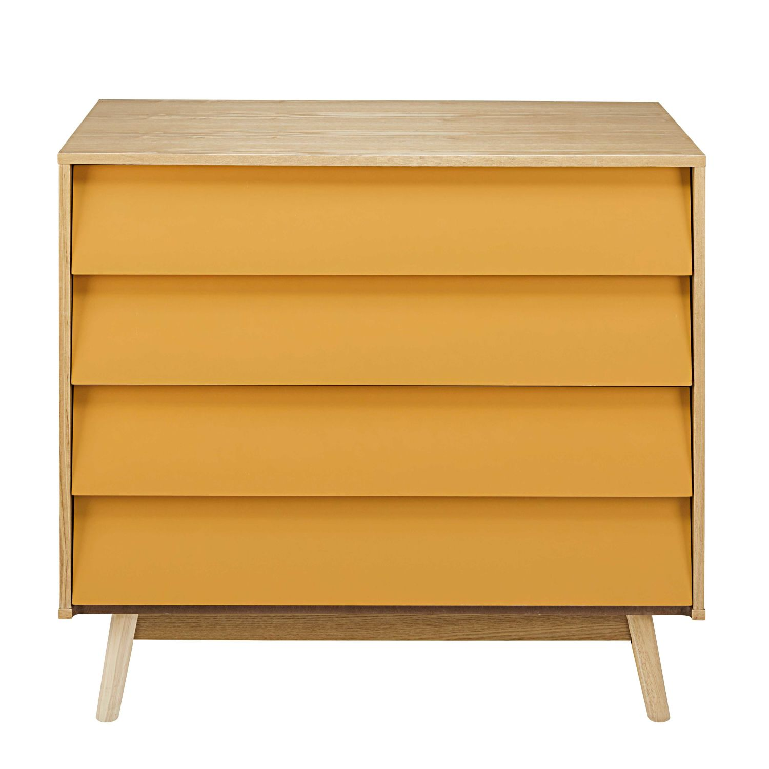 Meuble Jaune Moutarde Commode Vintage 4 Tiroirs Jaune Moutarde Maisons Du Monde