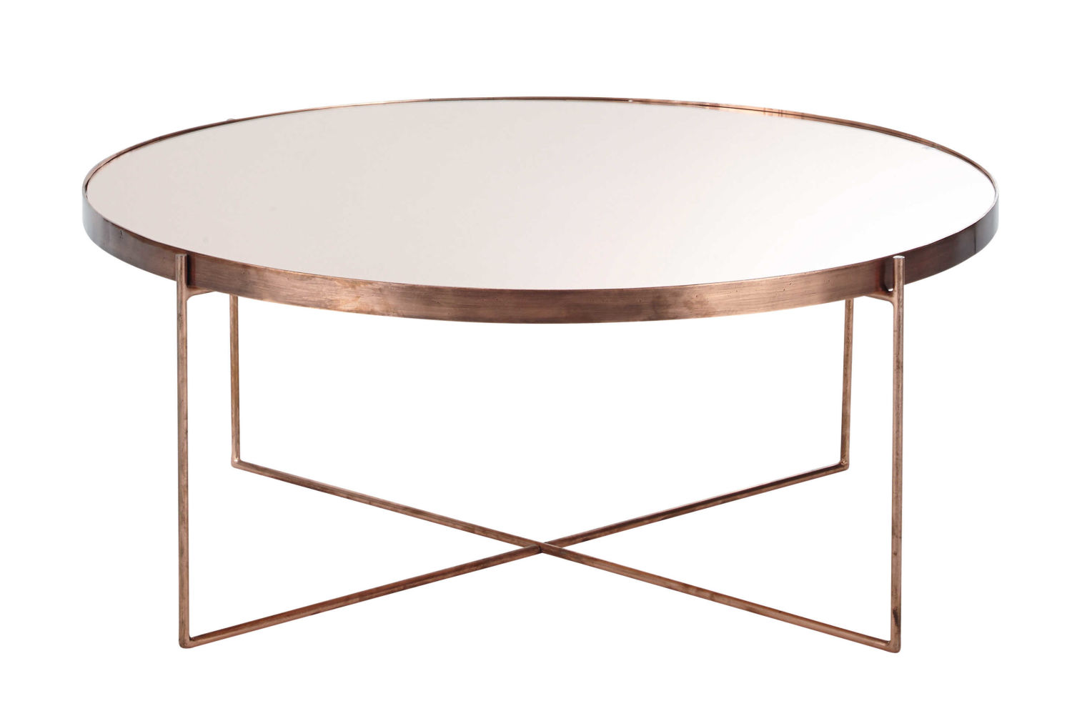 Maisons Du Monde Couchtisch Copper-plated Metal Mirror Round Coffee Table | Maisons Du