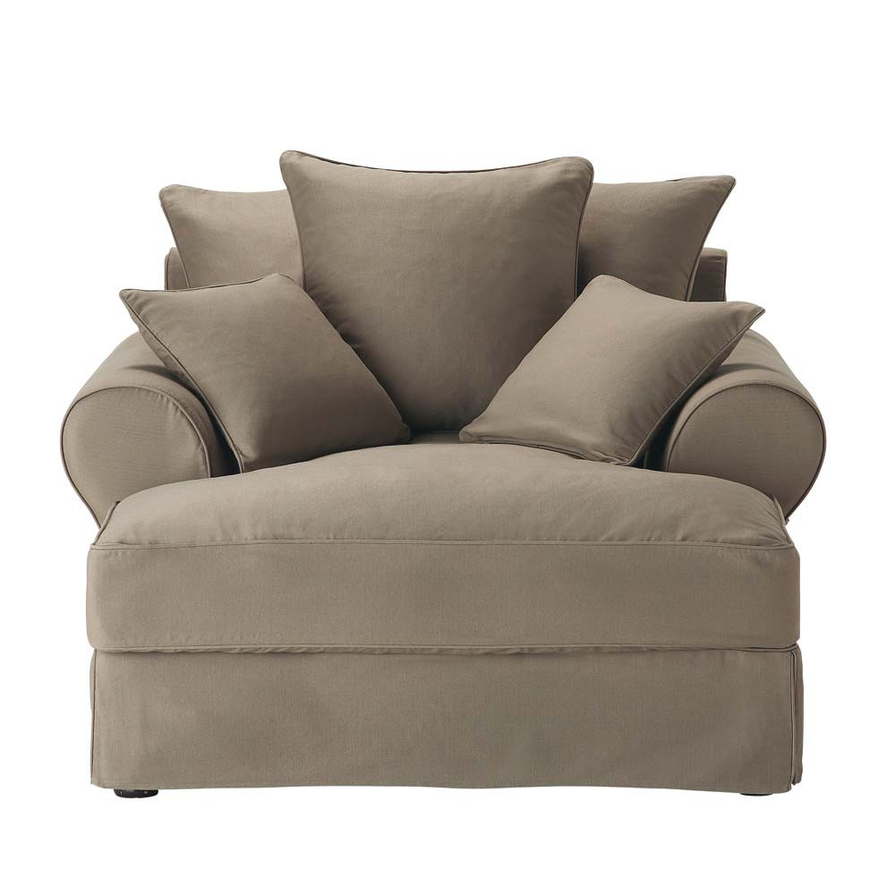 Chaiselongue Recamiere Cotton Chaise Longue In Taupe Bastide 540 50 Port
