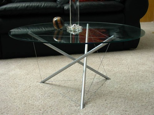 How to build a tensegrity coffee table make for Diy table base for glass top