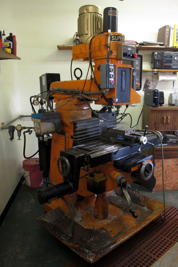 Having made an investment at a young age in a CNC machine, Chuck still fabricates projects on this Supermax CNC, powered by three 8088s and a tape drive.