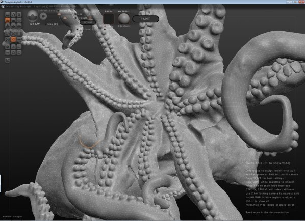 Working on the octopus in Sculptris