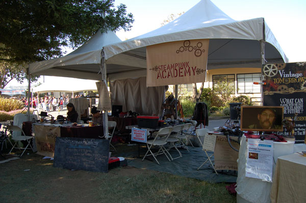 Steampunk Academy booth: A group of affiliated Makers sharing a space.