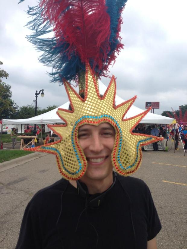 Jeff Sturges of Mt Elliot Makerspace in costume with Caribbean Mardi Gras Club parade