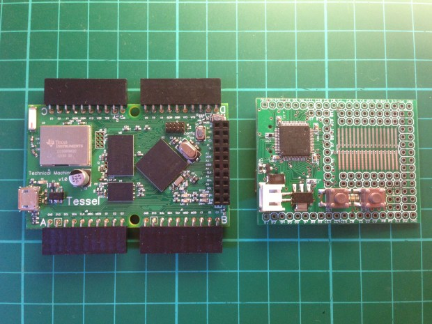 The Tessel board (left) and the Espruino board (right)