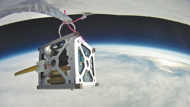 PhoneSat 1.0 during a high-altitude balloon test.