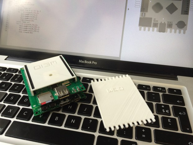 The WeIO Prototype (left) next to a 3D printed mock-up of the real board (right)