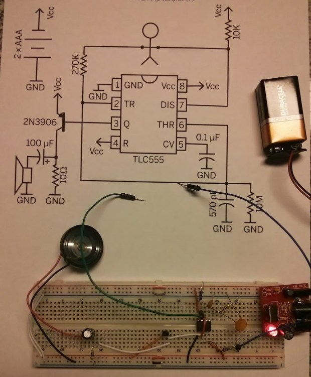 Gary's first attempt at the Drawdio included this build on solderless breadboard.