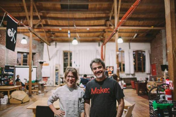Santiago Maker Space co-founders Macarena Pola and Tiburcio De La Carcova
