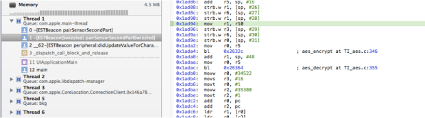 Stepping through the code and spotting the aes_encrypt call in TI_aes.c.
