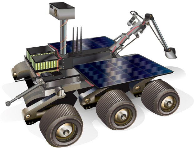 A Mars-Bot will include the drive and steering mechanisms of a conventional competition robot, plus a wireless video cam and various sensors.