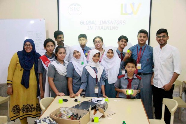 Students and teachers in our Global Inventor in Training class in Pakistan