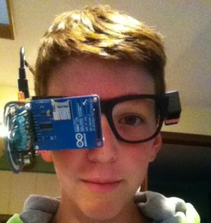 "Clay Haight with his DIY ""Google Glass""."