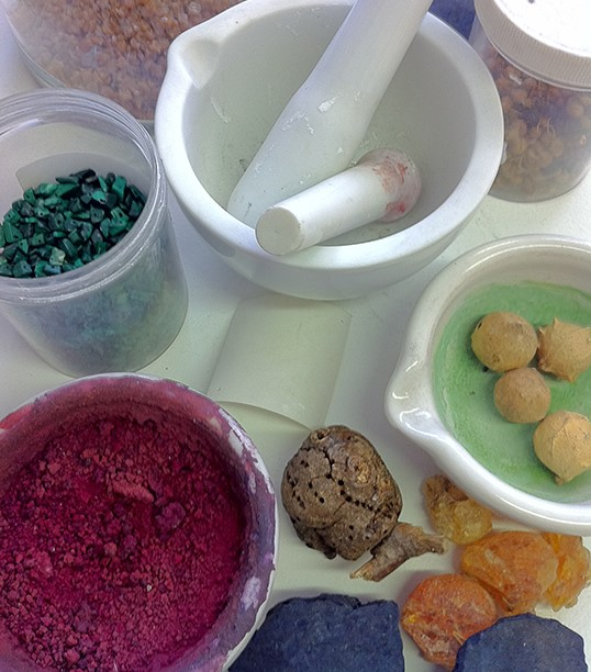 Colors for these paints come from natural materials.