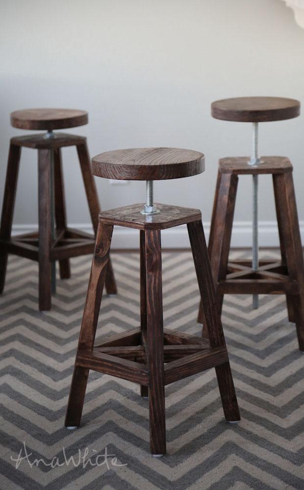 Bottoms Up Build These Stylish Adjustable Height Bar  : ana whiteadjustablebarstools01 from makezine.com size 620 x 999 jpeg 92kB