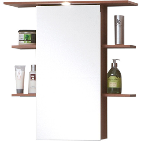 Armoire avec miroir pour salle de bains coloris Merano - Dim L 65 - Meuble Avec Miroir Pour Salle De Bain