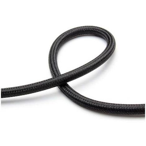 Fil électrique tissé de couleur noir vintage look retro en tissu - Couleur Des Fils Electrique