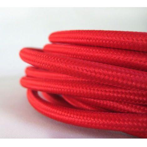 Fil électrique tissé de couleur rouge vintage look rétro - Couleur Des Fils Electrique