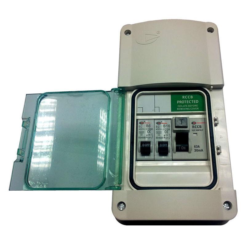 Lewden E - Garage Consumer Unit Fuse Box with RCD + 2 MCB\u0027s Weatherproof