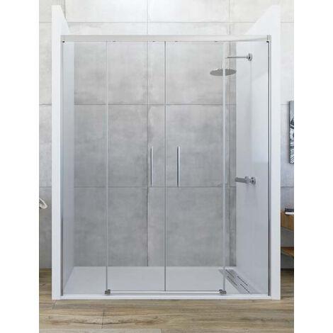 Mampara de ducha frontal de 2 hojas fijas y 2 puertas correderas - Modelo De Puertas Corredizas