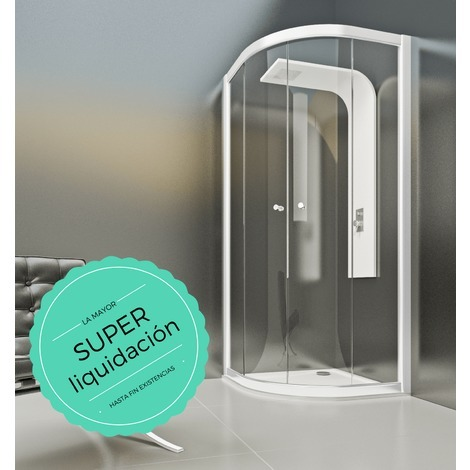 Mampara de ducha semicircular de 2 hojas fijas y 2 puertas - Modelo De Puertas Corredizas