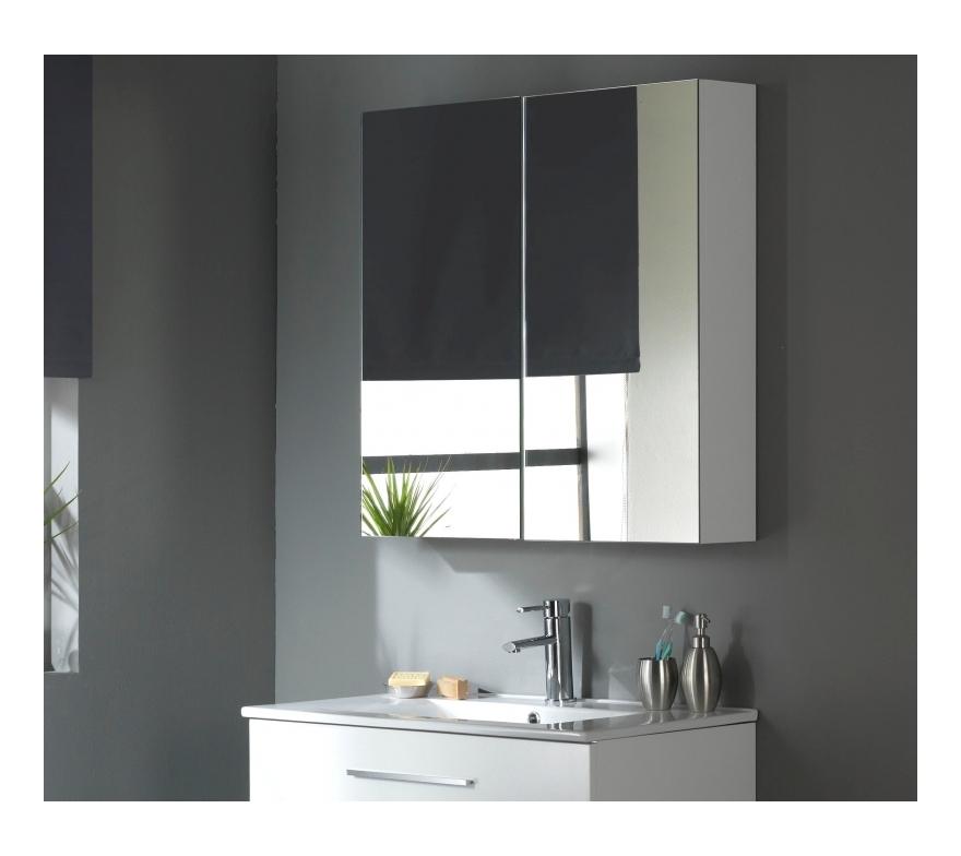 Miroir armoire 80 cm blanc laqué - Meuble Avec Miroir Pour Salle De Bain