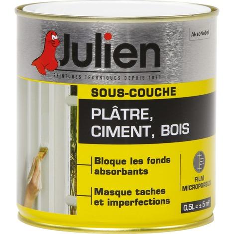 Sous-Couche Pour Pl?tre, Ciment, Bois Int?rieur Mat Blanc 0,5L - Peinture Julien Sous Couche