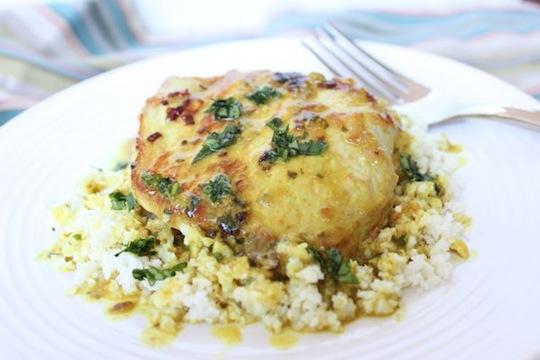 Paleo Pork Chops Over Rice