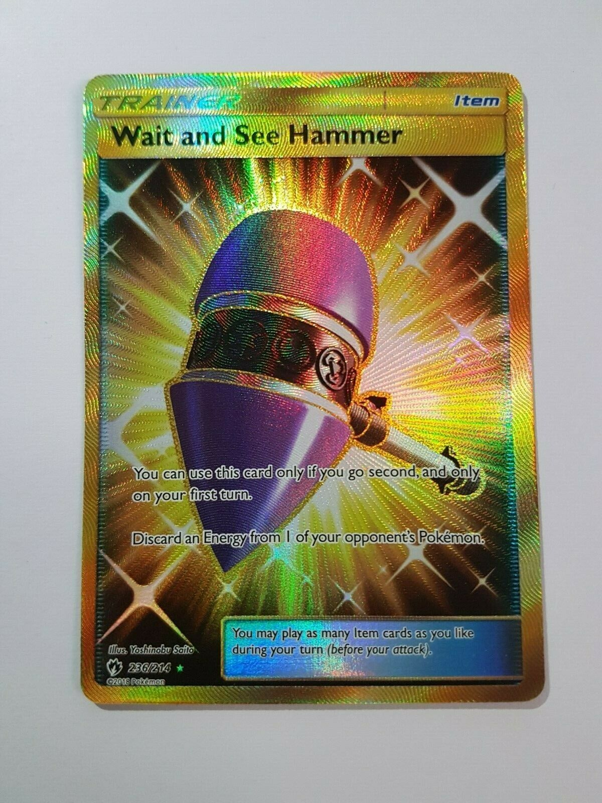 Pokemon Card Trainer Wait And See Hammer Secret Rare 236 214 Lost Thunder Mint