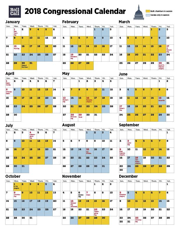 2018 Congressional Calendar Senators Plan More Work Days Than House