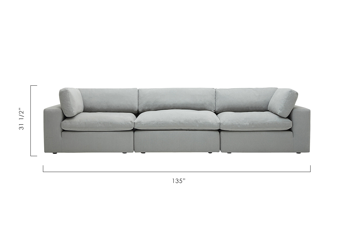 Cheap Modular Lounges Bloom 3 Seater Modular Sofa Light Gray